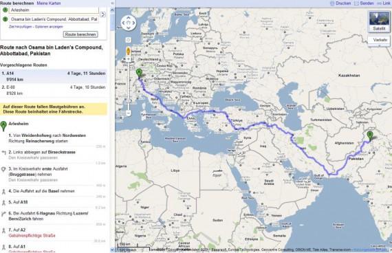 Google Maps – wo Herr bin Laden sein Ende fand
