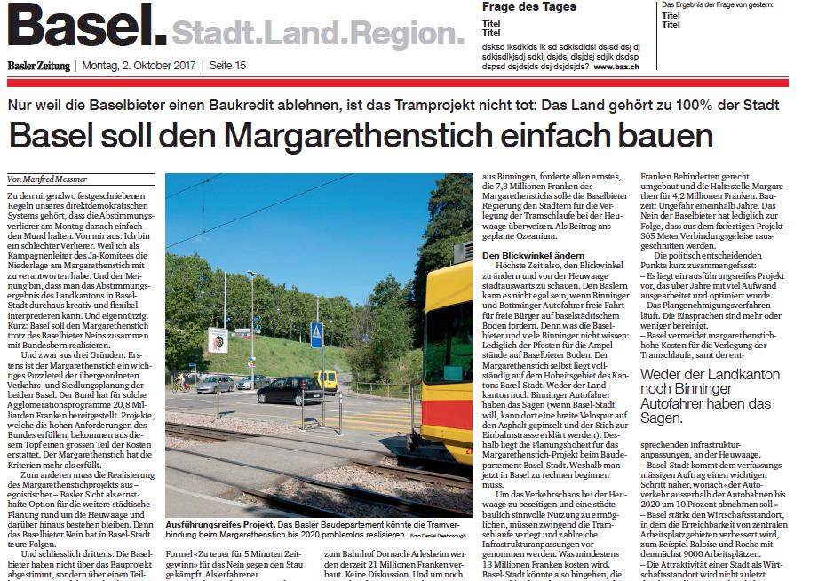 Basel soll den Margarethenstich einfach bauen