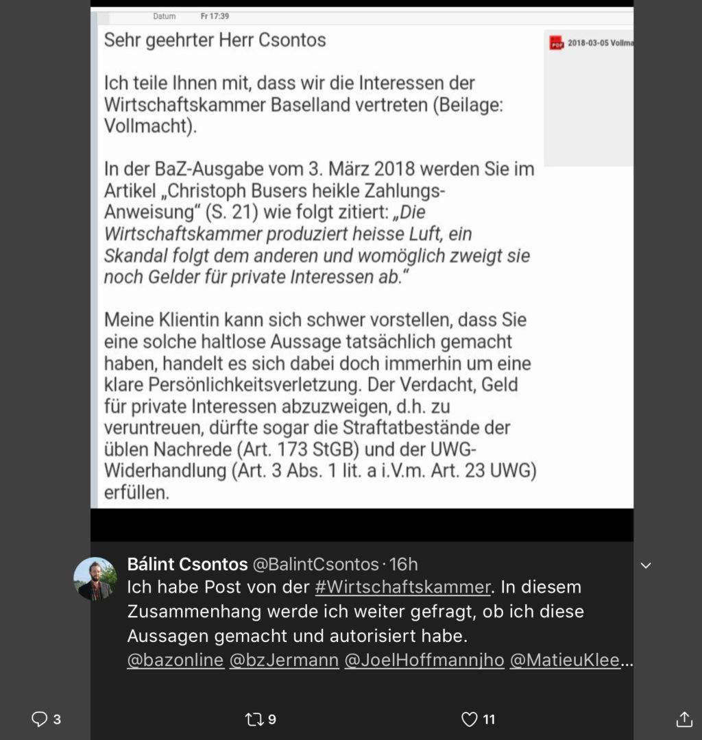 Buser mit Anwalt gegen Präsidenten der SP und Grünen